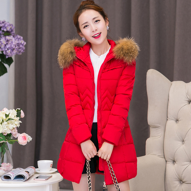 2017 New Fashion Winter Jacket Women Raccoon Fur Collar Thick feminine Hooded Jacket M-4XL Warm Big Size Women Outwear Parka