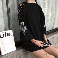 Женская Весенняя летняя Корейская шикарная Ретро мода кольцо печать свободные футболки студенческие женские кофта с капюшоном футболка дл...