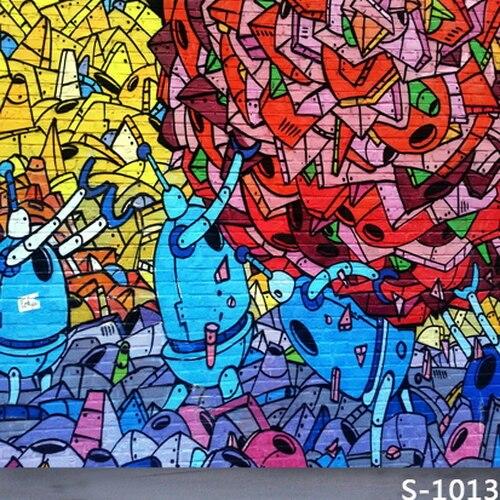 Graffiti Art Wallpapers Group 71: 10x10FT Amarillo Rojo Azul Graffiti Ladrillos Pared Calle