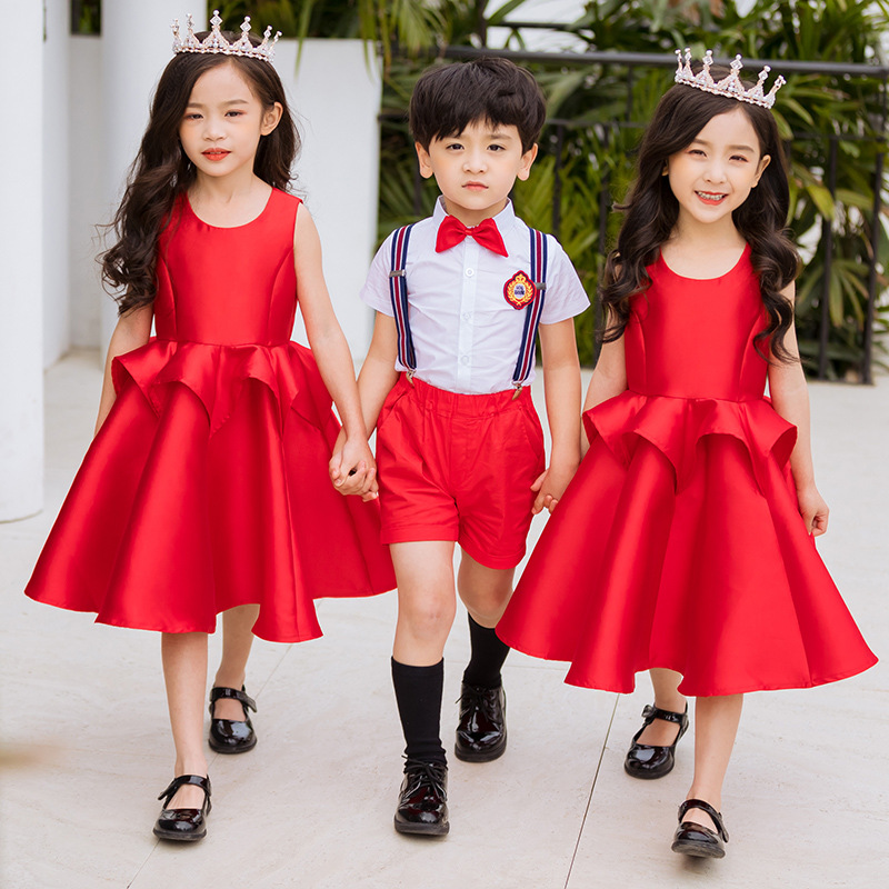 boy's chorus serve & Girl's red Princess skirt