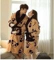 1 Unidades grueso de cachemira de franela albornoz pijamas Cute Panda pareja de manga larga chándal de terciopelo de Coral invierno Robe mujeres hombres Warm