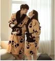 1 set Thick Flannel Cashmere Bathrobe Pajamas Cute Panda Couple Long-sleeved Coral Velvet Tracksuit Winter Robe Women Men Warm