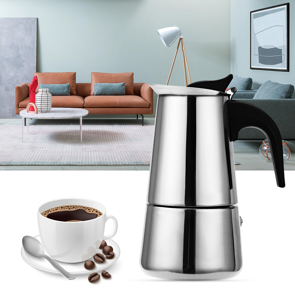Stainless Steel Moka Coffee Maker Pot Mocha Espresso Latte Stovetop Filter Coffee Pots 100ML 200ML 300ML 400ML Percolator ToolsStainless Steel Moka Coffee Maker Pot Mocha Espresso Latte Stovetop Filter Coffee Pots 100ML 200ML 300ML 400ML Percolator Tools