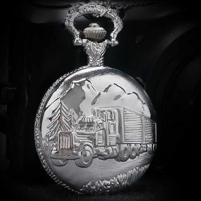 Vintage Pocket Watch Silver Color Truck Van Pattern Pocket Fob Watch Men Women Drop Shipping