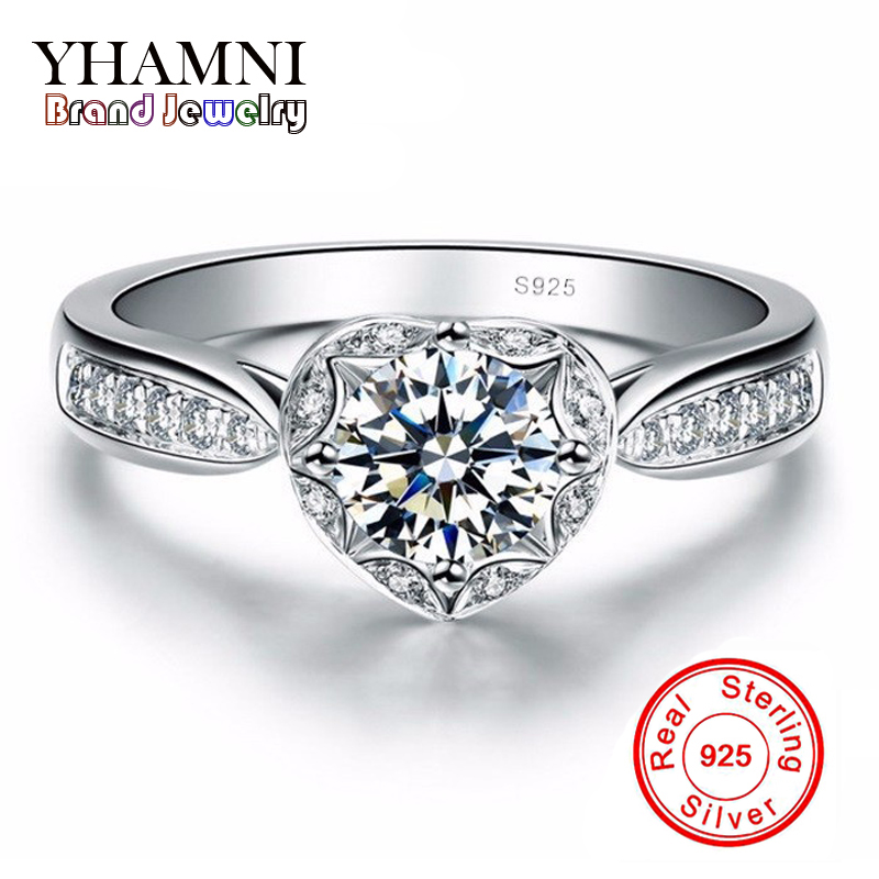 Promotion! Fine Jewelry Brand 100% 925 Sterling Silver Ring Inlay 1 Carat CZ Diamant Engagement Wedding Rings For Women AR024