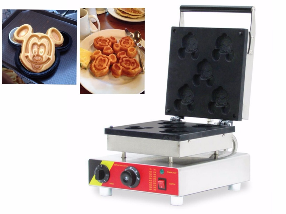 free shipping csot 5 pcs/ plate Cartoons Mickey Shape Waffle Baker Waffle making machine