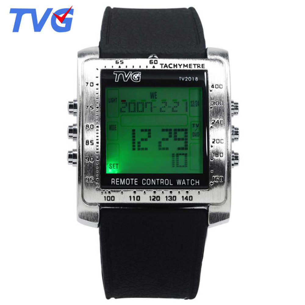 Led Digital Watches Mens Rubber Strap Rectangle TV Remote Control