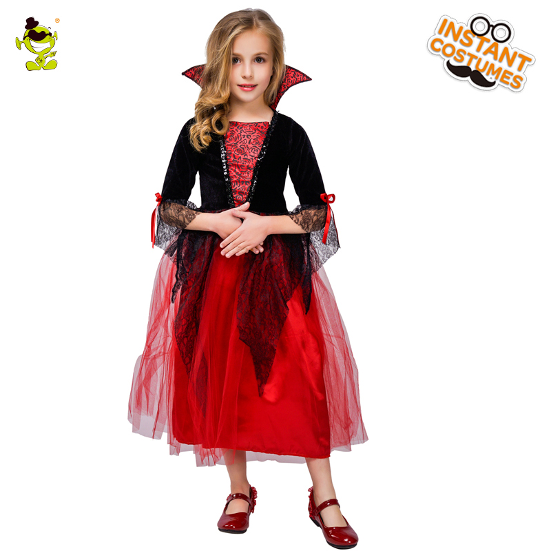 Kids Princess Vampire Costumes Children s Day Halloween Costume for Kids  Long Dress Carnival Party Cosplay 9354236cdb20