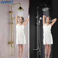 GAPPO Shower Faucets Set Bathtub Mixer Antique Bathroom Bath Shower Tap Waterfall Rain Shower Head