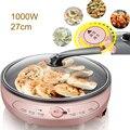 220 В бытовая электрическая сковорода для выпечки со стеклянной крышкой 1000 Вт регулятор температуры многофункциональные креповые мейкеры 27 ...