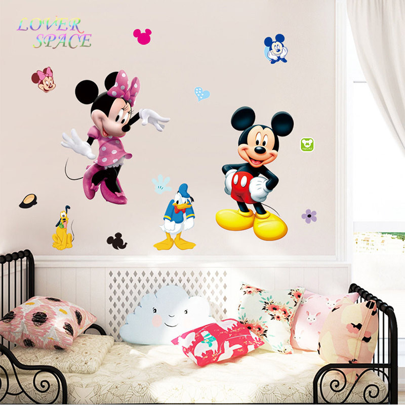 mickey mouse minnie 3d wall sticker cartoon vinyl mural decals kids nursery room home decor wall. Black Bedroom Furniture Sets. Home Design Ideas