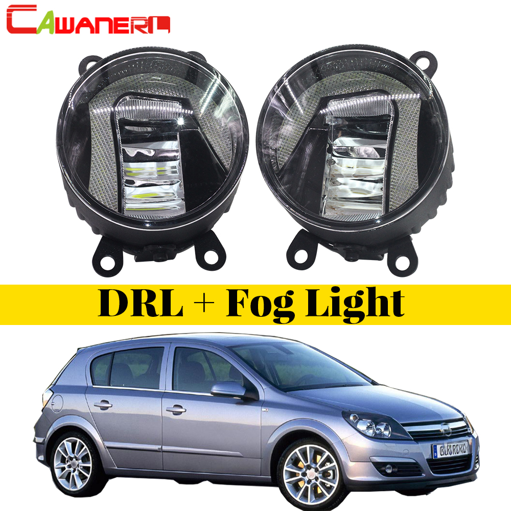 Cawanerl 2 Pieces Car Styling LED Fog Light DRL Daytime Running Lamp White High Bright For Opel Astra G H 1998-2010 led front fog lights for opel astra h gtc hatchback 2005 2010 car styling round bumper drl daytime running driving fog lamps