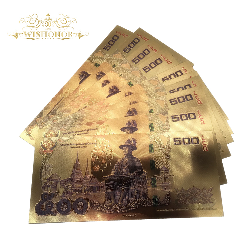 US $7 04 24% OFF|10pcs/lot 24K Color Thailand 500 Baht Gold Foil Banknote  Double Side Printing, Currency Banknotes Paper Money For Collection-in Gold