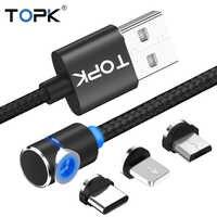 TOPK L-Line1 L forma de 90 grados USB magnético Cable imán USB tipo C y Cable Micro USB y Cable USB para iPhone 7 Plus X 8