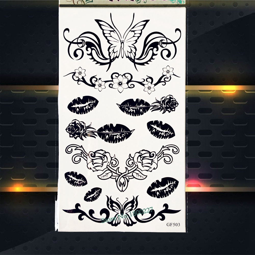 New Designer Waterproof Temporary Tattoo Sticker Black Fake Flash Tattoos Stickers PGF503 Women Makeup Tattoo Summer Style