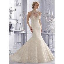 Custom Made Vestido De Novia Ivory/White Satin Applique Beading Buttons Lace Mermaid Wedding Dress Bridal Dresses