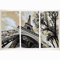 3 Pcs Moderne Image Diamant Peinture Point De Croix Mur Pour Salon Quadro Cuadros Décoration Paris Ville Eiffel Tour