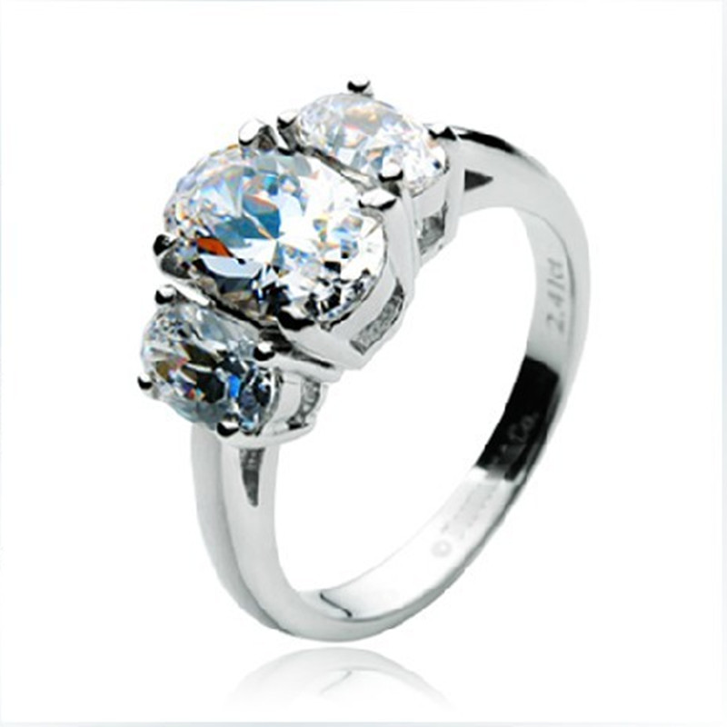 Vintage Gold Three Oval Stones Ring Crystal Clear 2 41CT SONA Simulate Diamond Oval Ring for