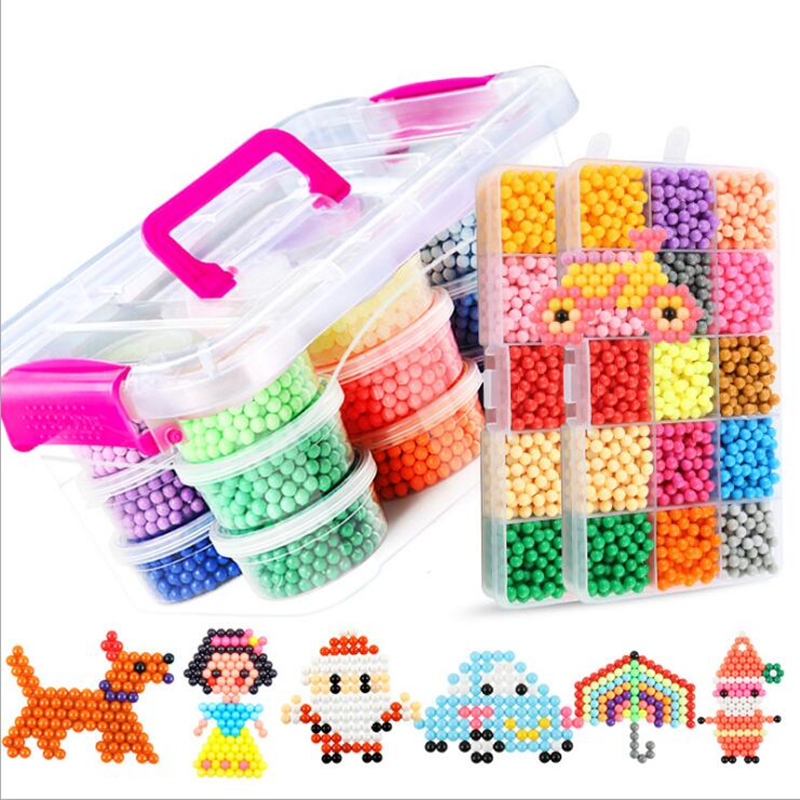 15 Colors 2500 pcs 5mm Magic Beads Set DIY 3d Puzzles Toys Set Hama Water Perler Beads Educational Fancy Kids Toys Children Gift(China)