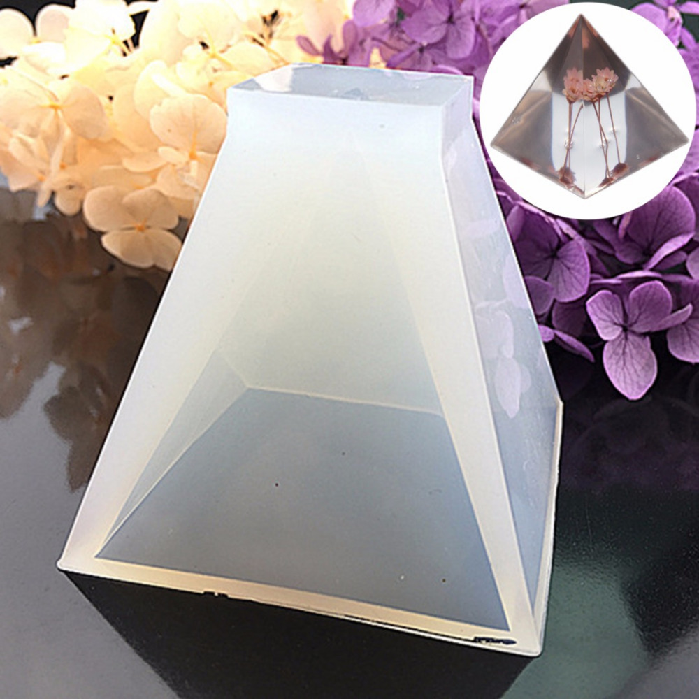 1pc Triangle Pyramid Silicone Mould DIY White Resin Decorative Craft Earrings Necklace Pendant Jewelry Making Mold Shellhard triangle fringed paillette pendant necklace