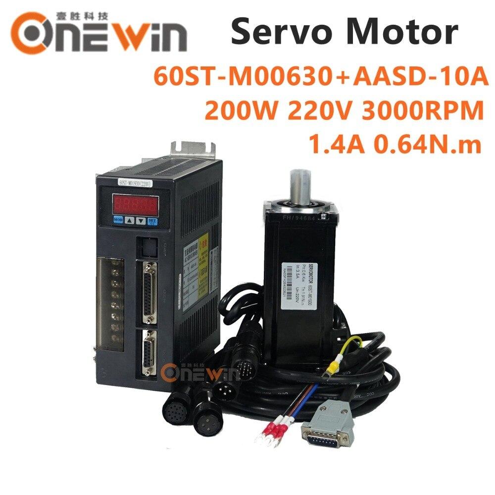 200W AC servo motor kit 60ST M00630+AASD 10A driver diameter 60mm 220V 0.64NM 3000rpm