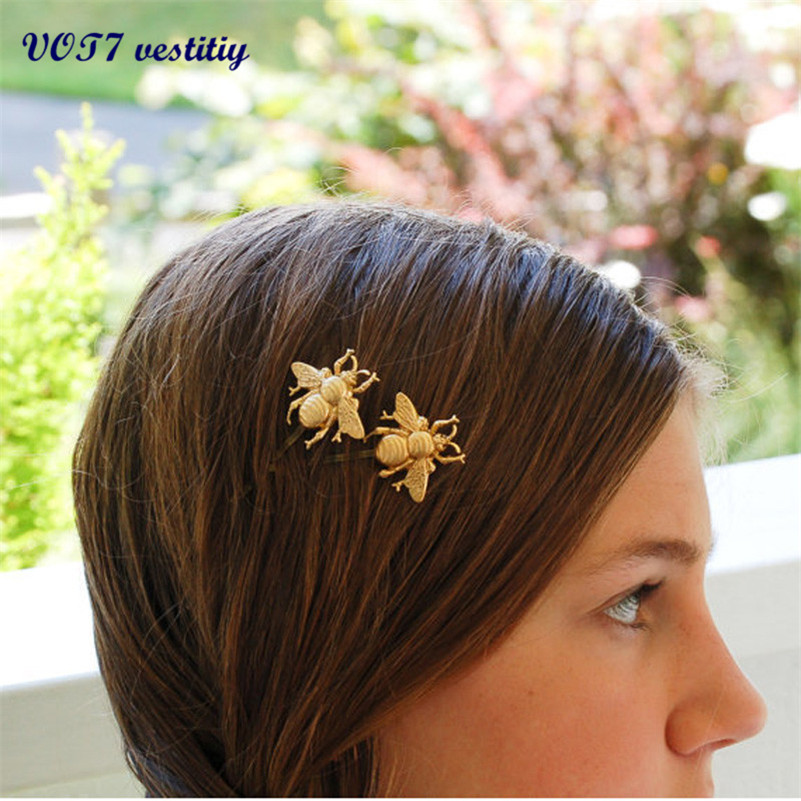 VOT7 vestitiy2016 fashion 2PCS Style Girl Exquisite Gold Bee Hairpin Side Clip Hair Accessories Alloy headhand