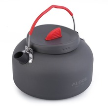 ALOCS 1.4L 1 Person Outdoor Cookware Aluminum Kettle Outdoor Camping Picnic Pot with Stainless Tea filter Ball In Bag CW-K03 alocs 7pcs outdoor picnic camping cookware for 3 4person mixed flying pan kettle pot skillet flambe cloth cooking set cw c06s