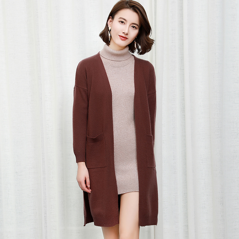 Women Open Stitch Cardigans 100 Pure Goat Cashmere Knitted Sweater Winter New Fashion Long Thick Warm