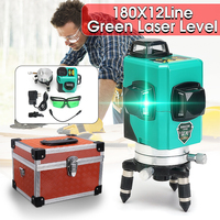 12 Line 360 Auto Self Leveling GREEN Laser 30m 3D Vertical Horizontal Level Cross Shockproof Shatter proof Vertical Horizontal
