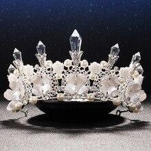 Columna de cristal blanco tiara nupcial de la flor de la perla joyería del pelo pelo de la novia accesorios de boda para las mujeres