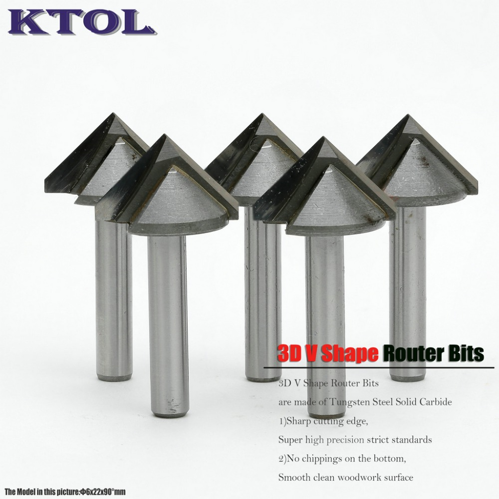 6 22MM 90 Degree V Groove Router Bit Woodworking Tools End Mills Tungsten Carbide Engraving Bits