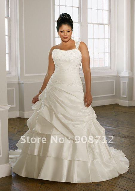 On Sale Radiant Taffeta With Lace Ball Gown Plus Size Wedding