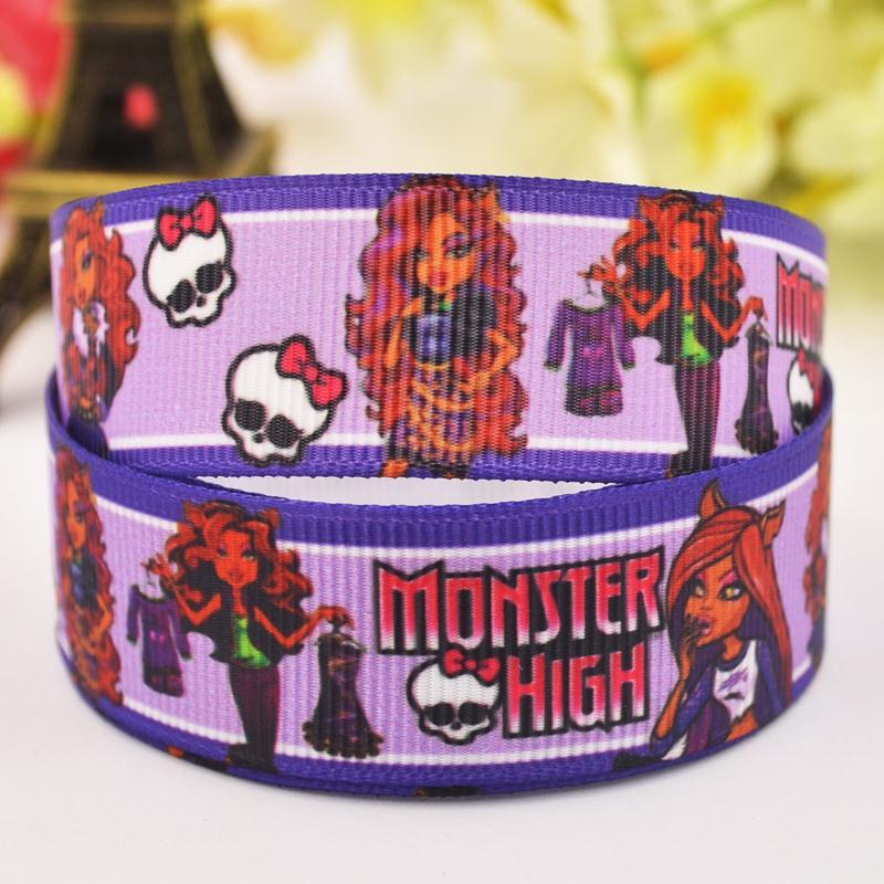 7/8 «22 мм Monster High Clawdeen Wolf мультфильм печатных полушерстяной лентой украшение партии атласные ленты oem 10y x-00055
