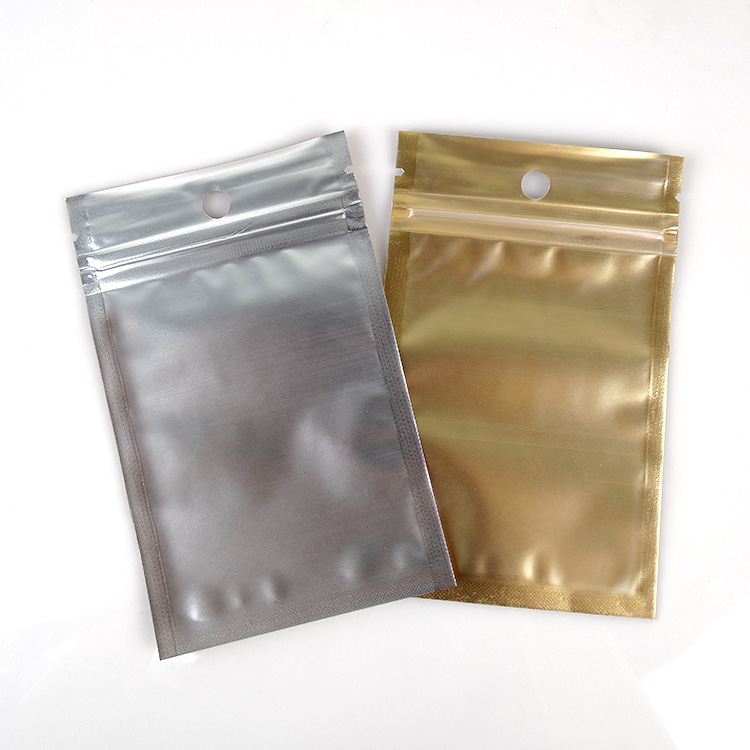 Wholesale 14*20cm Golden / Clear Self Seal Zipper Plastic Retail Package Packaging Bag Ziplock Storage Bag Packing W/ Hang Hole
