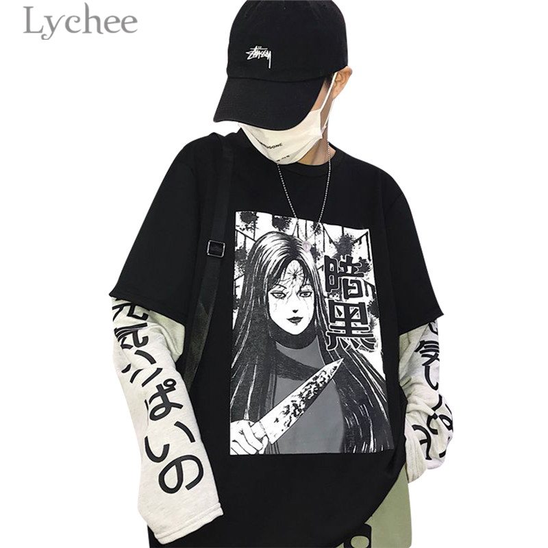 Lychee Harajuku Japanese Anime Print Women Sweatshirt Fake 2 Pieces O-Neck Long Sleeve Casual Loose Female Sweatshirt Streetwear