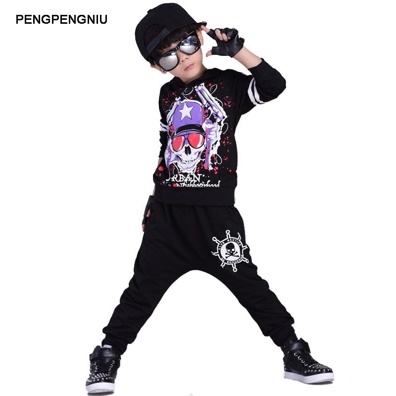 PENGPENGNIU Hip Hop Kids Dance Costumes Boys Girls Jazz Clothing Set 2018 Spring Autumn Fashion Skull Hoodie Harem Pants Suit cnc machine frame kit aluminum lathe bed 1605 ball screw cnc router 3040