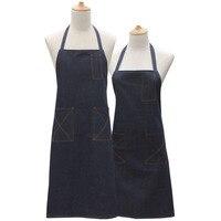 Denim Avental Aventais de Cozinha Para As Mulheres Homens Delantal Azul Escuro Alça de Cocina Baking Mats Cozinha Avental de Algodão Avental Com Bolsos