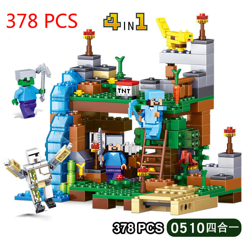 My World Minecrafted Figures City Building Blocks 4 in 1 DIY Bricks Legoed Minecraft City Educational Enlighten Children Toys my world figures toy building blocks compatible with legoinglys minecrafted city 4 in 1 diy garden bricks toy gift for kid