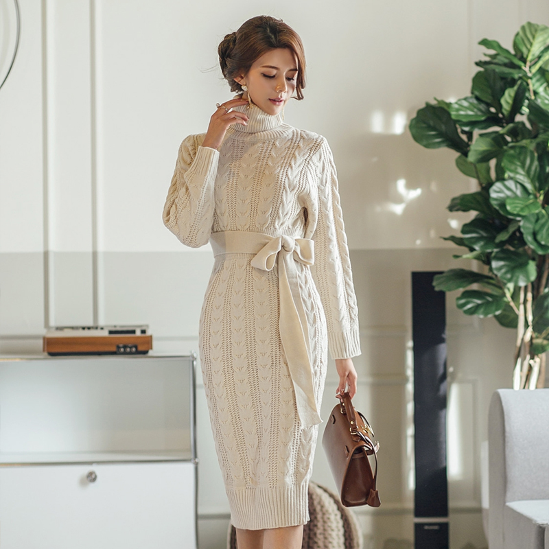 Vintage Twisted Slim Waist Bodycon Women Sweater Dress Turtleneck Lace Up Midi Female Knitted Pullover Dress Autumn Winter