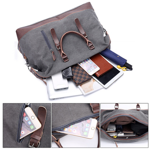 Image 5 - Scione Canvas Leather Men Travel Bags Carry on Luggage Bag Men Duffel Bags Travel Tote Large Weekend Bag Overnight Male Handbag