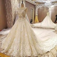 100% Real Photos Top Design Luxury Wedding Dresses Beaded Crystals A line Bridal Gowns With Royal Train Robe De Mariage 2018