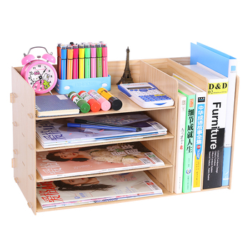Wood File Holder Data Frame Storage Box Book Stand Office Supplies File Basket Folder Multi-layer Table Bookshelf Multi-function