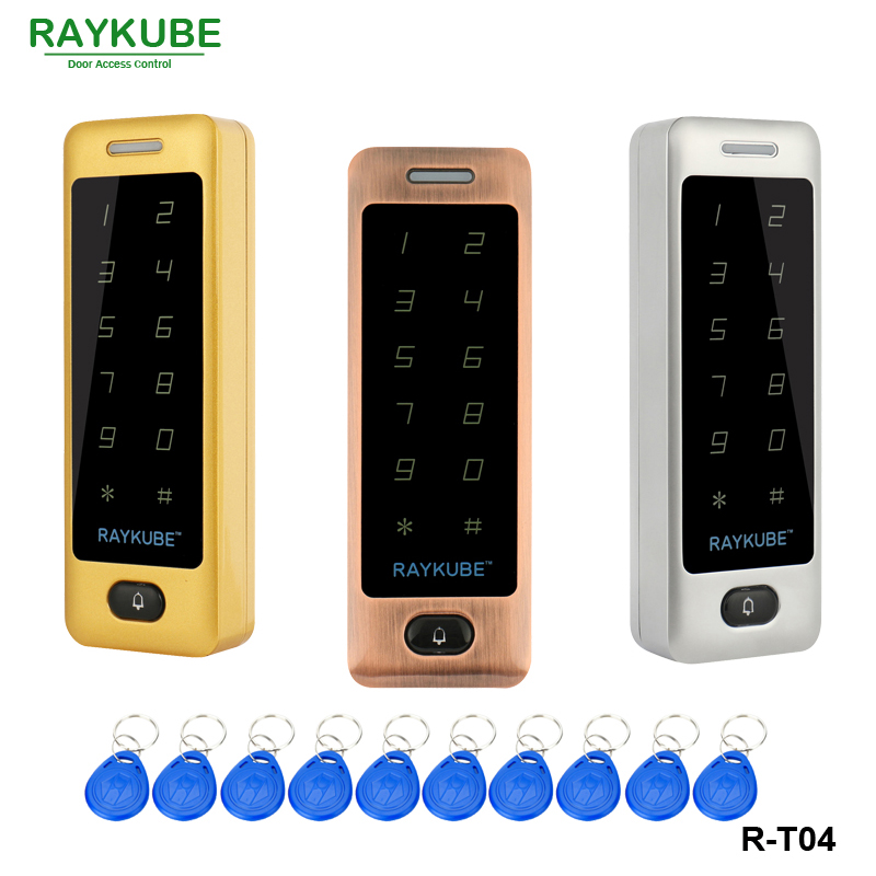 RAYKUBE Access Control Keypad With Waterproof Cover Metal Touch RFID Reader + 10Pcs Keyfobs For Access Control System R-T03 waterproof touch keypad card reader for rfid access control system card reader with wg26 for home security f1688a