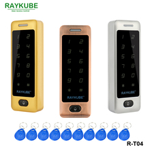 RAYKUBE Access Control Keypad With Waterproof Cover Metal Touch RFID Reader + 10Pcs Keyfobs For Access Control System  R-T03