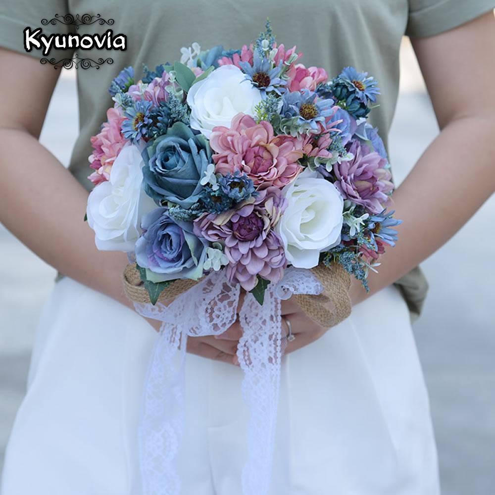 Kyunovia Vintage Blau Seide Wilden Blumen Blumenstrauss Fur Hochzeit
