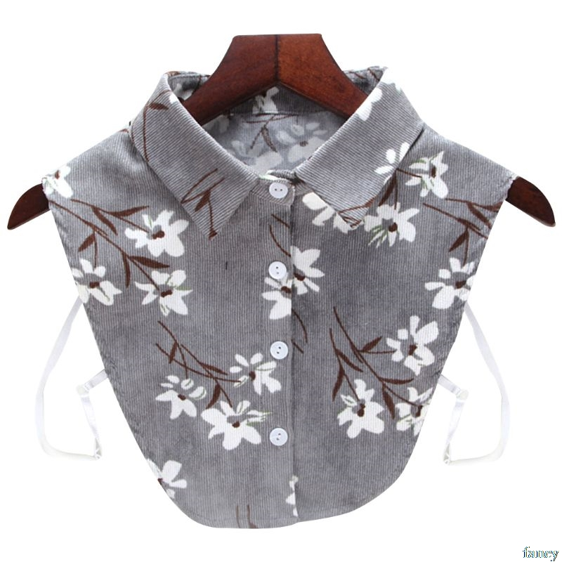 Women Blouse Sweatshirt Vest Lapel Fake False Collar Detachable Vertical Striped Floral Printed Corduroy Half Shirt Tie Button