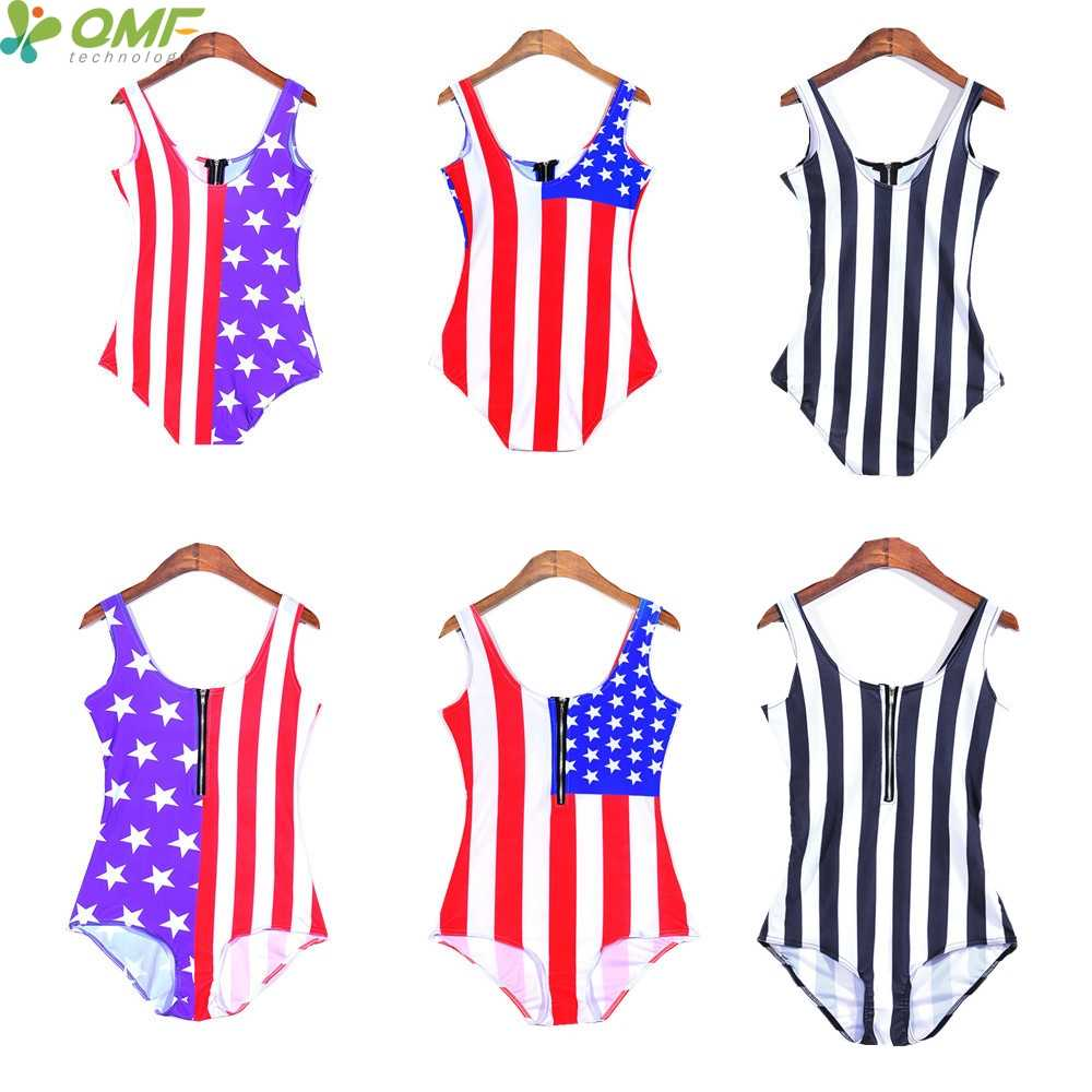feab3b63334 Zebra Stripe One Piece High Cut Swimsuits The USA Flag Monokinis Push Up  Brazilian Biquinis Brasileiro
