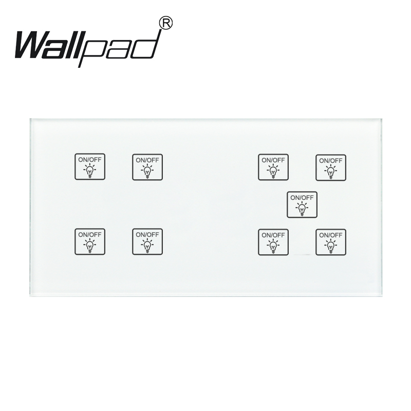 цена на 9 Gang 1 Way Switch Wallpad 110-250V 172*86mm Crystal Glass Panel LED Indicator Customize DIY 9 Gang 1 Way Touch Smart Switch