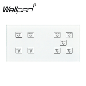 9 Gang 1 Way Switch Wallpad 110-250V 172*86mm Crystal Glass Panel LED Indicator Customize DIY 9 Gang 1 Way Touch Smart Switch