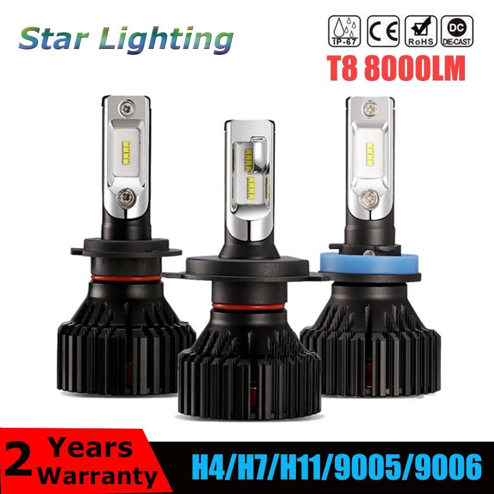 Автомобильные светодиодные лампы для фар Т8, H4, H7, H11, 9005, 9006, 60 Вт, 6500 лм